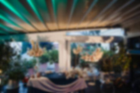Abstract blur and defocused restaurant interior for background.