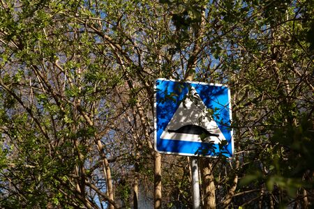 Road sign artificial roughness among the trees on which the leaves bloom.