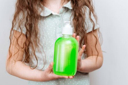 The child uses a hand antibacterial soap. Prevention of infection and dissemination of coronavirus, quarantine Reklamní fotografie