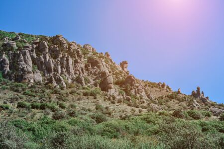Mountain with green trees against a clear sky with sunbeams. Colorful background. 写真素材