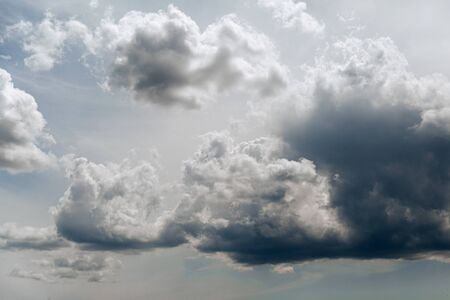 The sky is covered with clouds. .Weather before a thunderstorm.
