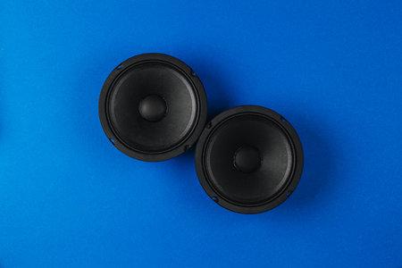 Car audio, car speakers, on a blue background. Archivio Fotografico