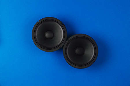 Car audio, car speakers, on a blue background.