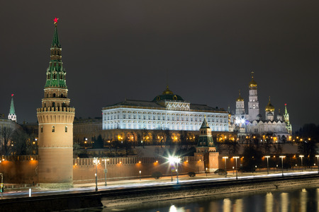Night view of the Moscow Kremlin from the stone bridge Stock Photo