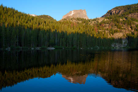 bear lake: sunrise at Bear Lake in Rocky Mountains National Park, Colorado