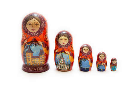matryoshka depicting buildings of Saratov (CAPATOB) city in Russia photo