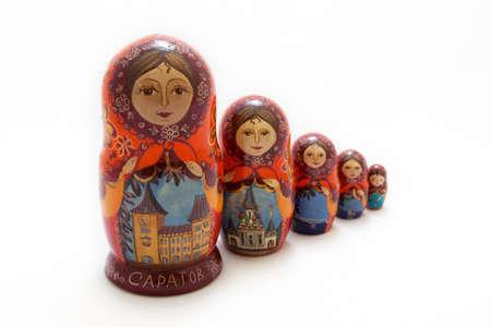 matryoshka depicting buildings of Saratov (CAPATOB) city in Russia