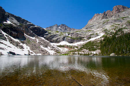 Black Lake and Rocky Mountains with glacier in summer, Rocky Mountains National Park, USA photo