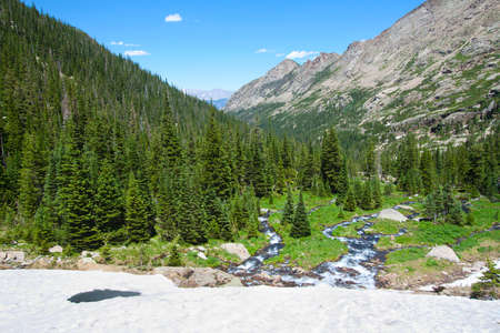 view of the Rocky Mountains National Park from the Black Lake glacier, Rocky Mountains National Park, USA photo