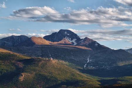 longs peak: Longs Peak as seen from Moraine Park in Rocky Mountains National Park, Colorado in summer