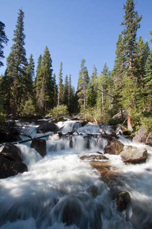 falls on the way to Ouzel lake in Rocky Mountains National Park, Colorado in summer