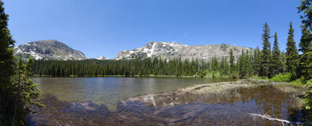 panoramic view of Ouzel lake Lake in Rocky Mountains in summer