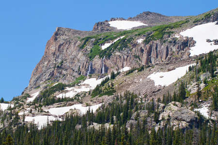 mountain with snow and waterfalls in rocky mountains in summer photo