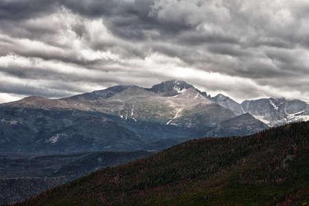longs peak: Storm at Longs Peak in Rocky Mountains, Colorado Stock Photo
