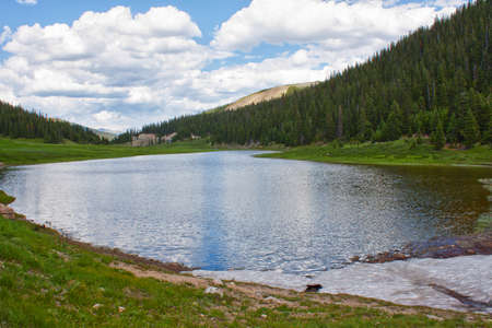 overlook: Lake Irene in Rocky Mountains, Colorado, USA in summer