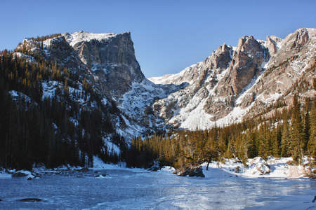Emerald lake in rocky mountains national park, CO in winter