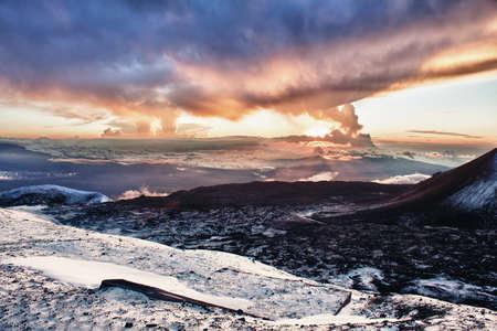 sunset at the summit of Mauna Kea in Hawaii