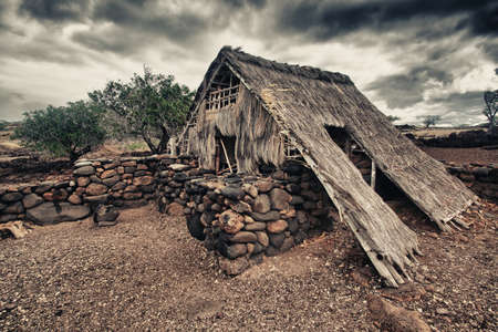 old abandoned primitive house of Hawaiian aborigines photo
