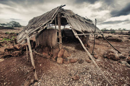 aborigines: old abandoned primitive house of Hawaiian aborigines