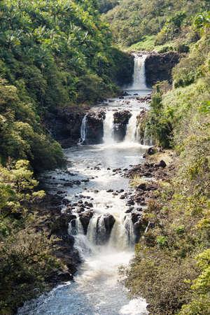 Umauma falls in Hawaii closeup