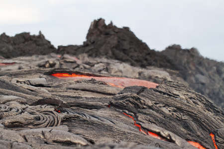 flow of red hot lava closeup