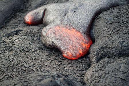 kilauea: flow of red hot lava closeup