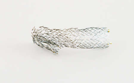 nitinol: macro shot of a crushed cell-based nitinol selfeexpanding stent for endovascular surgery