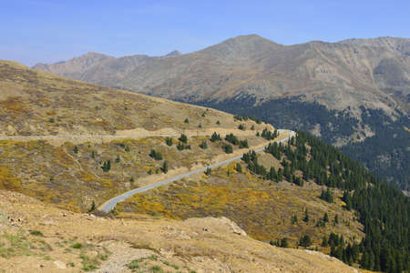 High Mountain roal in Colorado during foliage season photo