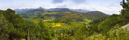 valley with golden and green trees in colorado during fall at east Dallas Creek Ridgway looking at Mt Sneffels photo