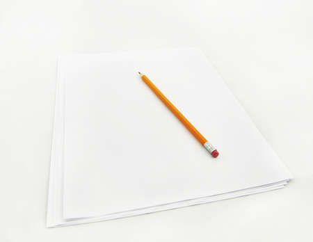 pencil on pages of white paper ready for notes or drawing Stock Photo - 17102581