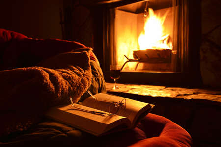 cosy: relaxation with a book, glasses and a glass of wine in front of the fireplace at night