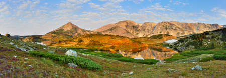 Wide Panoramic view of Medicine Bow Mountains in Wyoming