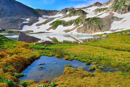 alpine tundra: high altitude alpine tundra and lake in Colorado during summer