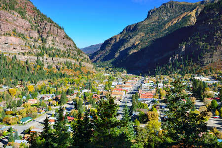 colourful mountains of Colorado and view of Ouray town during foliage season photo