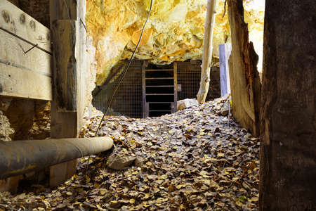 gold rush: inside of an old abandoned gold mine in Colorado