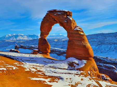 Delicate Arch at sunset in Arches National Park, Utah in winter Stock Photo