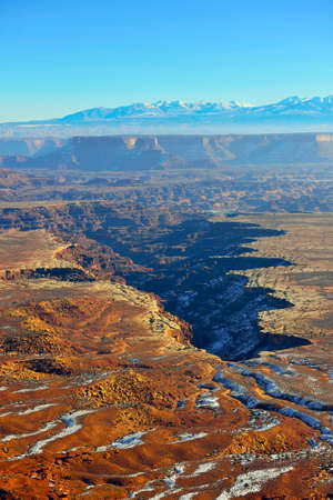 green river: Green River overlook in Canyonlands National Park, Utah in winter Stock Photo