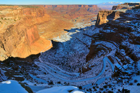 devils garden: Shafer Canyon in Canyonlands National Park, Utah in winter Stock Photo