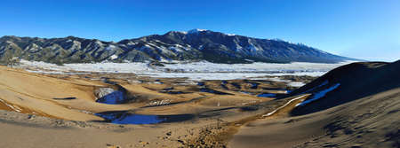 panoramic view of the Great Sand Dunes National Park, Colorado in winter photo