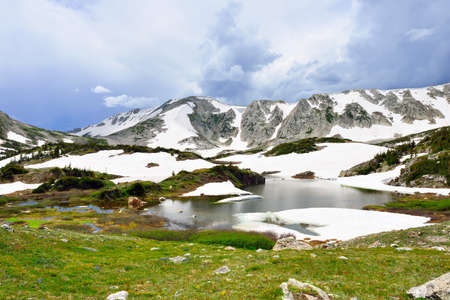 Snowy Range Mountains and lake in Medicine Bow, Wyoming in summer Stock Photo