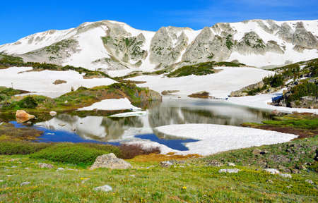 Snowy Range Mountains and lake with reflection in Medicine Bow, Wyoming in summer