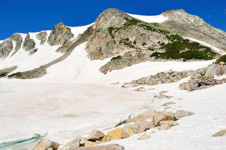 Glacier in Snowy Range Mountains in Medicine Bow, Wyomingr