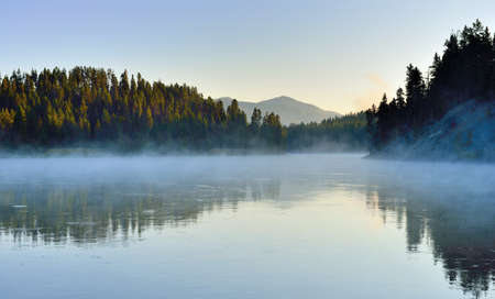 hayden: fog over the river in Hayden Valley of Yellowstone National Park in summer Stock Photo
