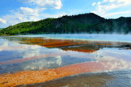 steamy: red steamy surface of the Midway Geyser Basin in Yellowstone National Park, Wyoming