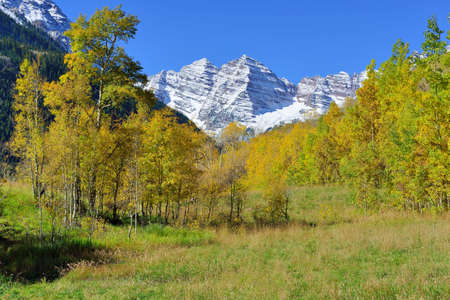 snow covered mountains with colorful aspen during foliage season in Colorado