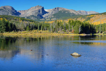 Mountains and alpine lake with reflection in daylight during the fall season