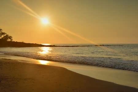 beautiful sunset at Mauna Kea beach Big Island of Hawaii