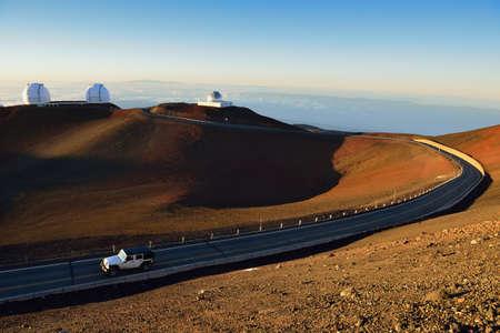 telescopes on the summit of Mauna Kea on the Big Island of Hawaii Stock Photo