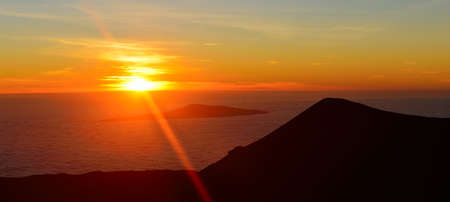 sunset on the summit of Mauna Kea mountain on the Big Island of Hawaii