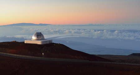 Mauna Kea telescopes on the Big Island of Hawaii after sunset Stock Photo